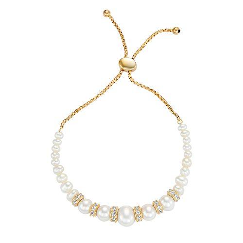 18k Gold Over Silver Freshwater Cultured Pearl Bolo Bracelet