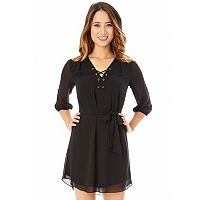 Juniors' IZ Byer Lace-Up Shirtdress
