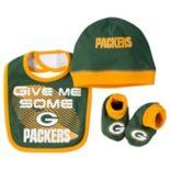 Baby Green Bay Packers 3-Piece Bib, Cap & Bootie Set