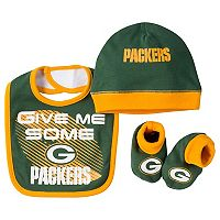 Baby Green Bay Packers 3 pc Bib, Cap & Bootie Set
