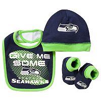 Baby Seattle Seahawks 3-Piece Bib, Cap & Bootie Set