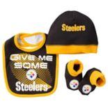 Baby Pittsburgh Steelers 3-Piece Bib, Cap & Bootie Set