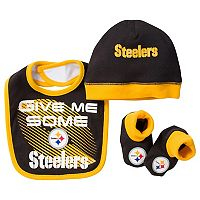 Baby Pittsburgh Steelers 3-Piece Bib, Cap & Bootie Set
