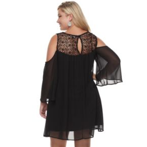 Juniors' Plus Size HeartSoul Crochet Yoke Cold-Shoulder Dress