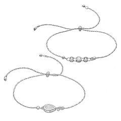 LC Lauren Conrad Cubic Zirconia Slipknot Bracelet Set