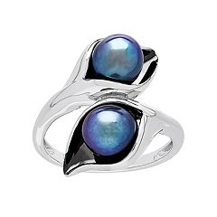 Sterling Silver Dyed Black Freshwater Cultured Pearl Calla Lily Ring