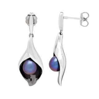Sterling Silver Dyed Black Freshwater Cultured Pearl Calla Lily Drop Earrings