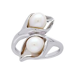 Sterling Silver Freshwater Cultured Pearl Calla Lily Ring