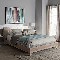 Baxton Studio Adelia Mixed Media Upholstered Bed