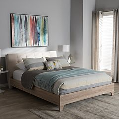 Baxton Studio Adelia Mixed Media Upholstered Bed