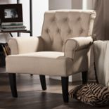 Baxton Studio Barret Traditional Tufted Arm Chair