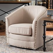 Baxton Studio Porter Swivel Tub Accent Chair
