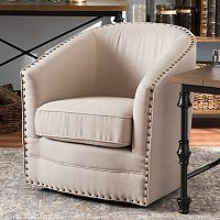 Baxton Studio Porter Swivel Tub Accent Chair