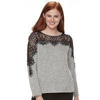 Juniors' Mason & Belle Lace Yoke Top