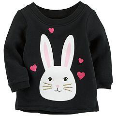 Baby Girl Carter's Sparkly Bunny Sweatshirt