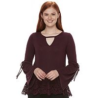 Juniors' Mason & Belle Bell Sleeve Lace Hem Top