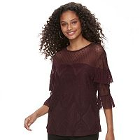 Juniors' Rewind Lace & Mesh Ruffle Sleeve Top