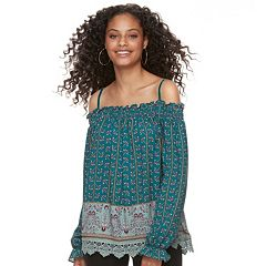 Juniors' Mason & Belle Print Off-The-Shoulder Top
