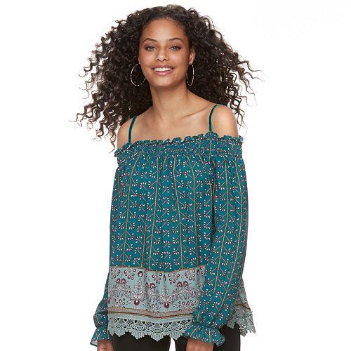 Juniors' Mason & Belle Print Off-The-Shoulder Top