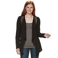 Juniors' Mason & Belle Lace Panel Cardigan