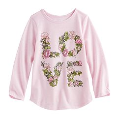 Toddler Girl Jumping Beans® Floral 'LOVE' Slubbed Graphic Tee