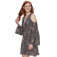 Juniors' Mason & Belle Floral Cold Shoulder Faux-Wrap Dress