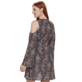 Juniors' Mason & Belle Floral Cold Shoulder Faux-Wrap Dress