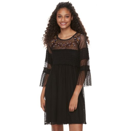 Juniors' Mason & Belle Embroidered Mesh Peasant Dress