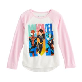 Toddler Girl Jumping Beans® Marvel Spider-Man, Black Widow & Captain America Raglan Tee