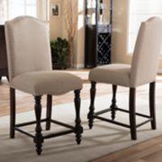 Baxton Studio Zachary Upholstered Counter Stool 2-piece Set