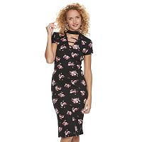 Juniors' Almost Famous Floral Lattice Mockneck Midi Dress