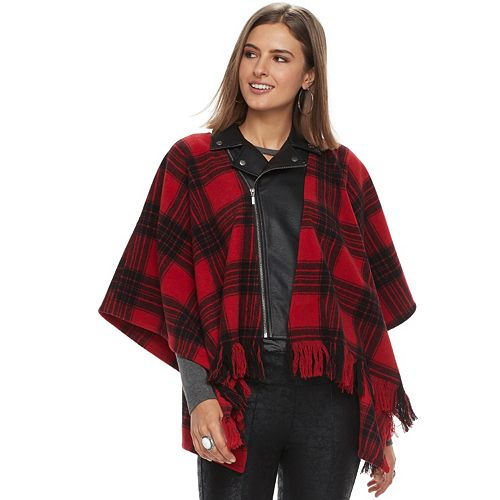 Women's Rock & Republic® Faux-Leather Moto Poncho Jacket