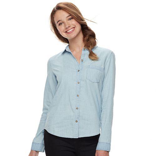 Juniors' SO® Long Sleeve Button Front Shirt