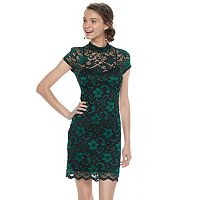 Juniors' Almost Famous Lace Overlay Sheath Dress