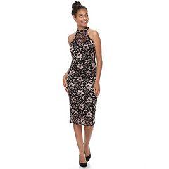 Juniors' Almost Famous Lace Mock Neck Bodycon Dress