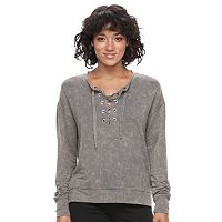 Juniors' Mudd® Lace-Up Sweatshirt