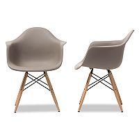 Baxton Studio Gray Mid-Century Modern Dining Chair 2-piece Set
