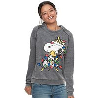 Juniors' Snoopy Christmas Lights Sweatshirt