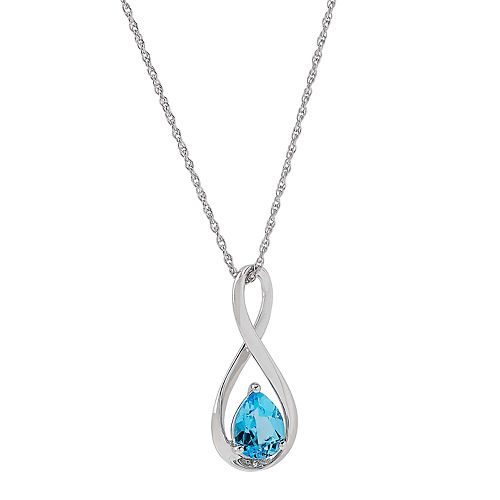 Sterling Silver Blue Topaz  Infinity Pendant