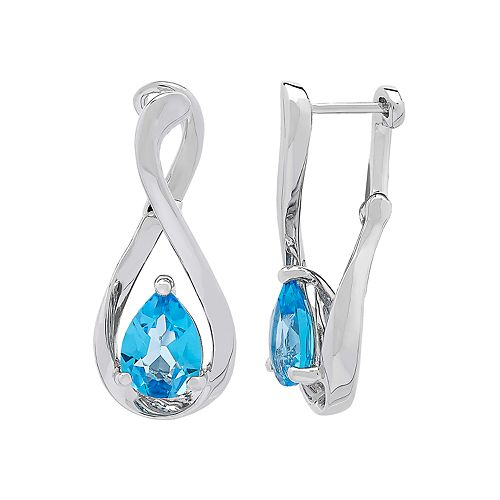 Sterling Silver Blue Topaz Infinity Earrings