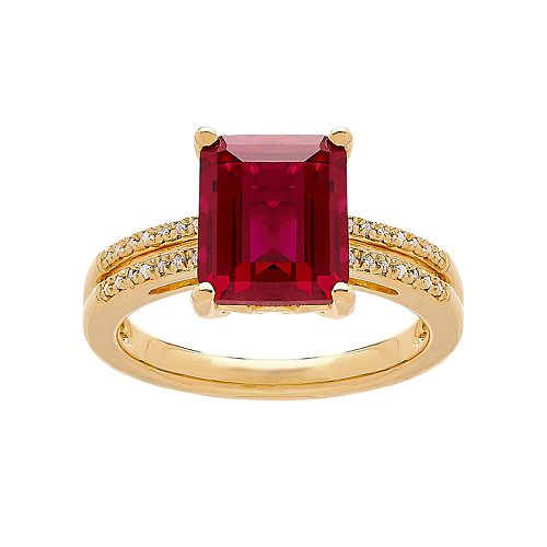 14k Gold Over Silver Lab-Created Ruby & 1/10 Carat T.W. Diamond Ring