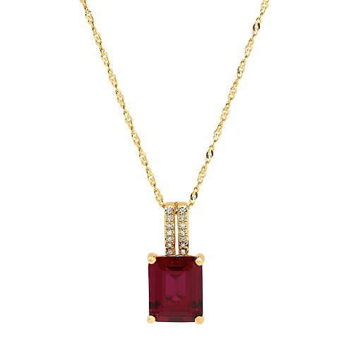 14k Gold Over Silver Lab-Created Ruby & Diamond Accent Pendant