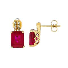 14k Gold Over Silver Lab-Created Ruby & Diamond Accent Earrings