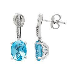 Sterling Silver Blue Topaz & Diamond Accent Drop Earrings