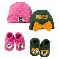 Baby Green Bay Packers 4-Piece Cap & Bootie Set