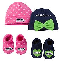 Baby Seattle Seahawks 4-Piece Cap & Bootie Set