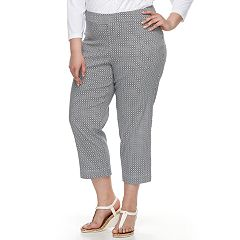 Plus Size Cathy Daniels Millenium Print Pull-On Ankle Pants