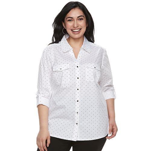 01b52bb4f258c Plus Size Cathy Daniels Dot Roll-Tab Shirt