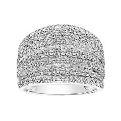 Simply Vera Vera Wang 14k White Gold 1 1/2 Carat T.W. Certified Diamond Multi Row Anniversary Ring