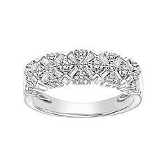 Simply Vera Vera Wang 14k White Gold 3/4 Carat T.W. Certified Diamond Cluster Anniversary Ring